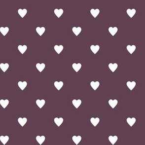 White Hearts on Eggplant Purple