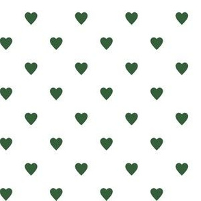 Hunter Green Hearts on White