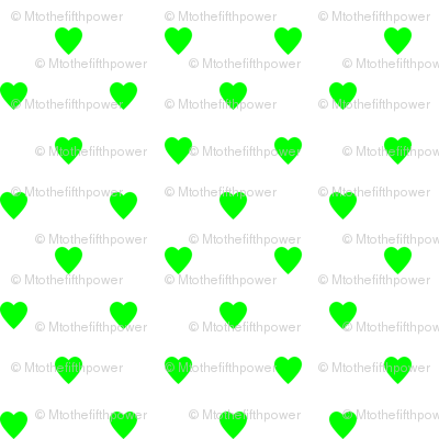 Lime Green Hearts on White