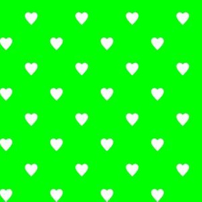 White Hearts on Lime Green