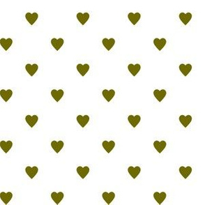 Olive Green Hearts on White