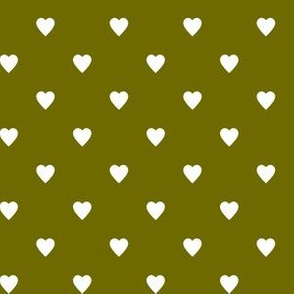 White Hearts on Olive Green
