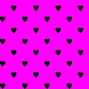 Black Hearts on Pink