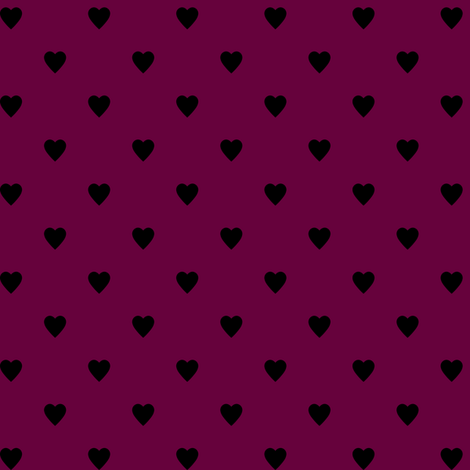 Black Hearts on Tyrian Purple fabric by mtothefifthpower on Spoonflower - custom fabric