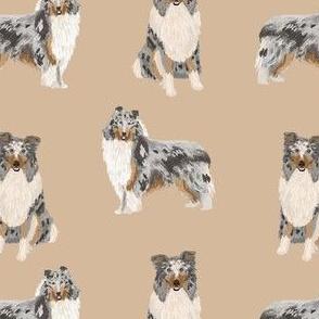 blue merle collie fabric dog dogs design - cute dog fabric- khaki