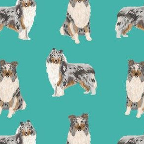 blue merle collie fabric dog dogs design - cute dog fabric- turquoise