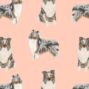 blue merle collie fabric dog dogs design - cute dog fabric- blush