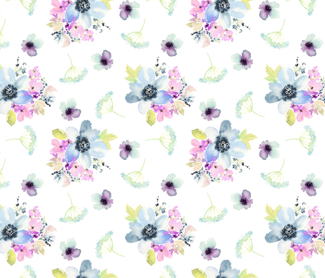 Ocean Breeze Watercolor Florals fabric by hipkiddesigns on Spoonflower - custom fabric