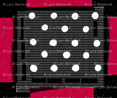 red black and white checks rustic screen print