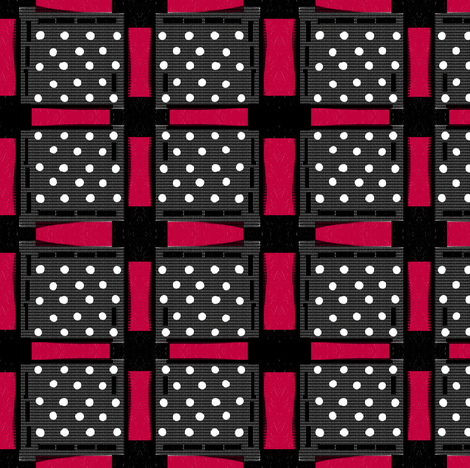 red black and white checks rustic screen print fabric by lbehrendtdesigns on Spoonflower - custom fabric