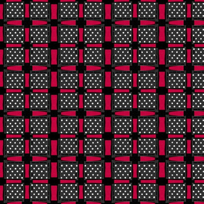 red black and white checks rustic screen print