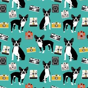 boston terrier and vintage cameras fabric cute dogs and cameras - turquoise - smaller