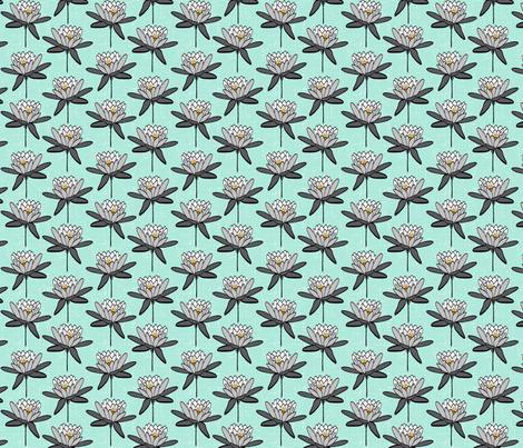 LotusFLowerMint fabric by wolfandrabbitfabrics on Spoonflower - custom fabric