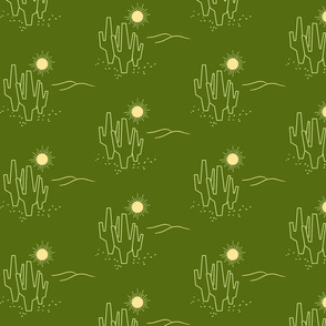Green Midcentury Saguaro