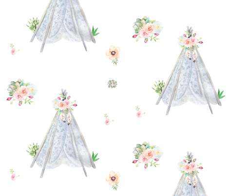 Silver Blue Floral Aztec Teepee fabric by hudsondesigncompany on Spoonflower - custom fabric