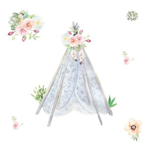 Silver Blue Floral Aztec Teepee