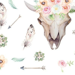 Boho Floral Skull with Arrows and Feathers Collage