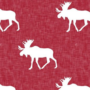 moose on red linen