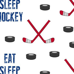 (large scale) Eat Sleep Hockey - red and blue