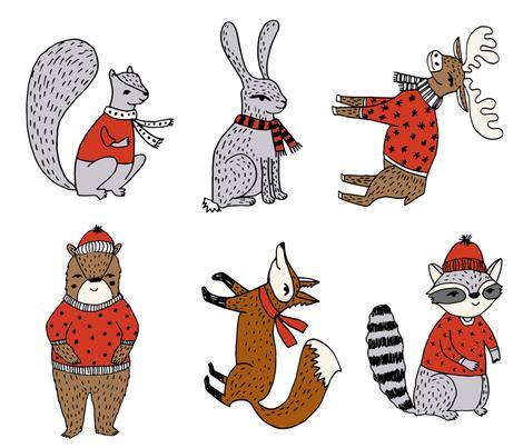"plush woodland critters - xmas christmas plush cut and sew panels - 6 per yard - 42"" x 36"" fabric by andrea_lauren on Spoonflower - custom fabric"