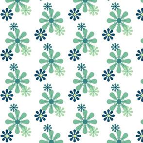 Green Blue Retro Daisies