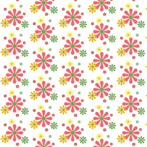 Coral Yellow Orange Red Green Retro Daisies