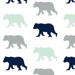 Forest Bears in Mint, Navy and Gray