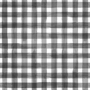 Black and White Watercolor Gingham