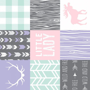 Little Lady Wholecloth - Dark grey, mint, lilac, pink