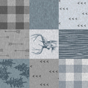 Rustic Buck Wholecloth Quilt  - ROTATED- blue and grey