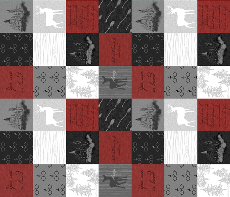 """3"""" Always Quilt - Red - ROTATED - wizard quotes fabric by sugarpinedesign on Spoonflower - custom fabric"""