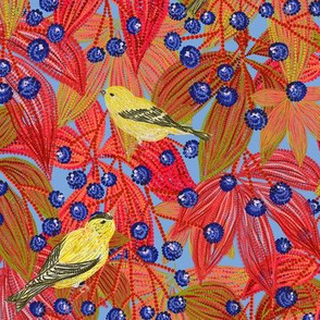 Goldfinches on Wild Grapes blue-grey