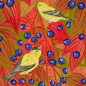 Goldfinches on Wild Grapes olive