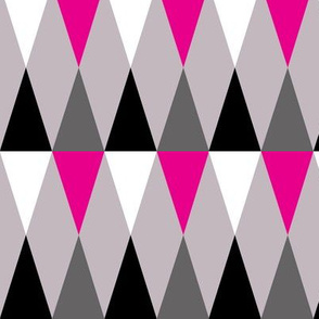 Geometric Pattern: Harlequin: Pink/Grey