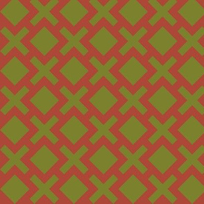 Geometric Pattern: Diamond Cross: Brown/Olive