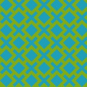 Geometric Pattern: Diamond Cross: Green/Blue