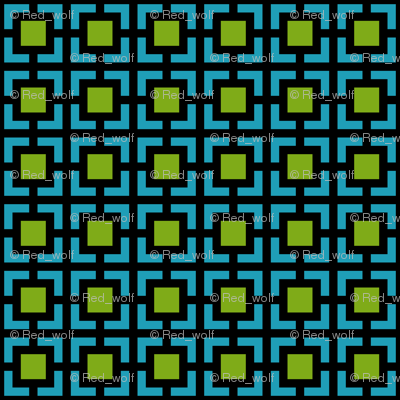 Geometric Pattern: Square Bracket: Green-Blue
