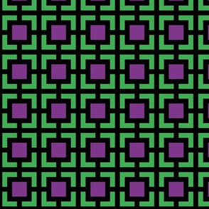 Geometric Pattern: Square Bracket: Purple/Green