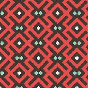 Geometric Pattern: Diamond Delta: Red