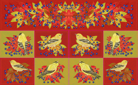 58inchTable set Fall Goldfinches (mix) fabric by helenpdesigns on Spoonflower - custom fabric