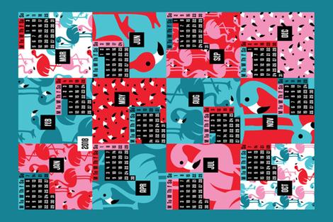 Flamingo TeaTowel 2018 fabric by cassiopee on Spoonflower - custom fabric