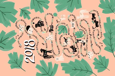 Dog calendar 2018 fabric by janetdrummond on Spoonflower - custom fabric