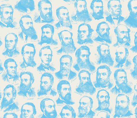 Parliament of Victoria 1877 Blue colour way fabric by sawhorse on Spoonflower - custom fabric