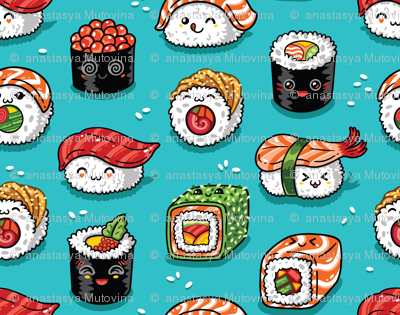 Cute kawaii sushi small size
