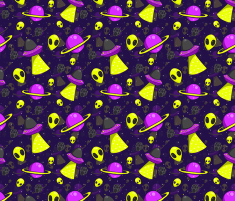Aliens are real fabric lramer spoonflower for Alien print fabric