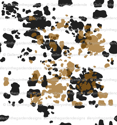 Brown, Black and White Cowhide Spots, Dairy Animals, Farm Animal Print, Farmhouse Style