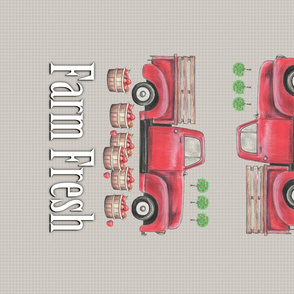Old Red Truck  Farm Fresh Tea Towel