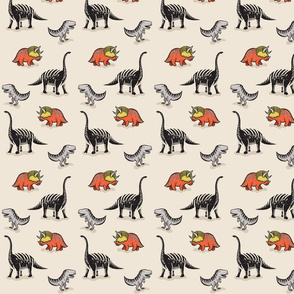 Dinosaurs in Colour on Cream