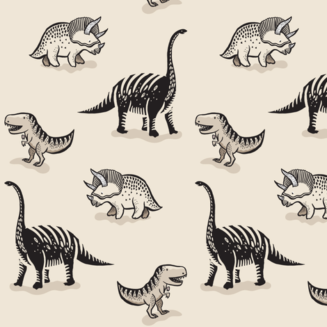 Dinosaurs - Monocream fabric by weegallery on Spoonflower - custom fabric