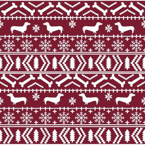 Dachshund fair isle christmas fabric dog breed doxie dachsie pattern maroon